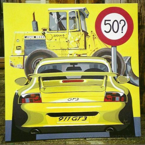 Gele Porsche in acryl