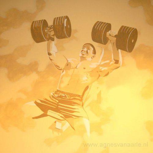 Bodybuilder fitnessruimte